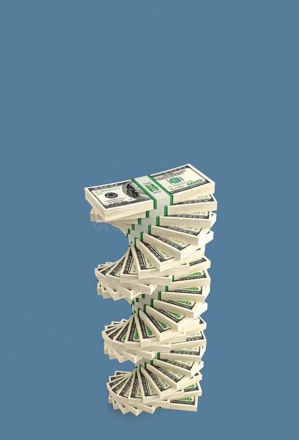 Espiral del dólar - Espiral hecha de billetes de 100 dólares stock de ilustración