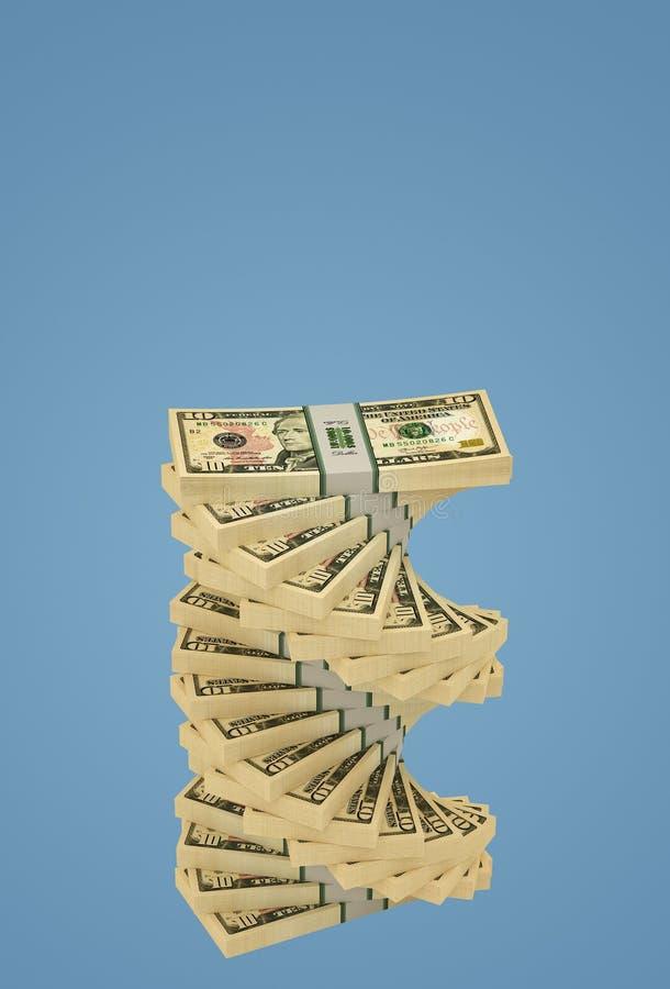 Espiral del dólar - Pila de billetes de 10 dólares stock de ilustración