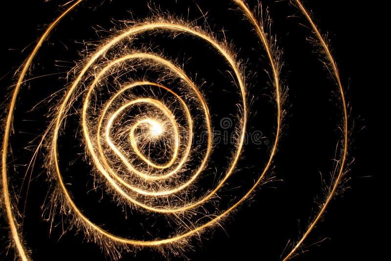 Espiral del Sparkler foto de archivo libre de regalías