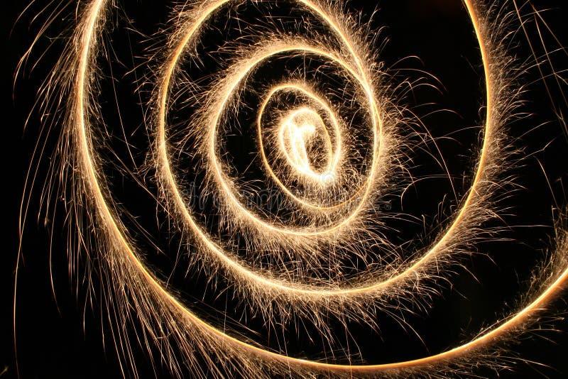 Espiral del Sparkler fotografía de archivo libre de regalías