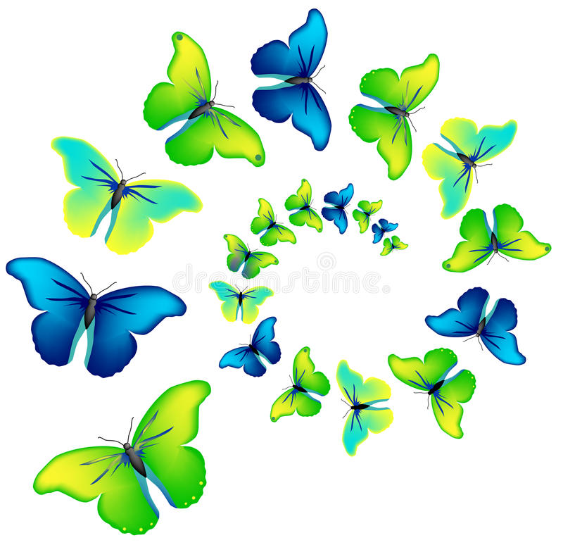 Espiral do vetor das borboletas fotos de stock royalty free