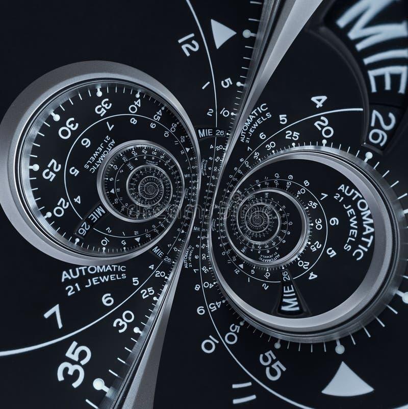Espiral doble surrealista de reloj del reloj del fractal de plata negro moderno futurista del extracto Modelo abstracto inusual d ilustración del vector