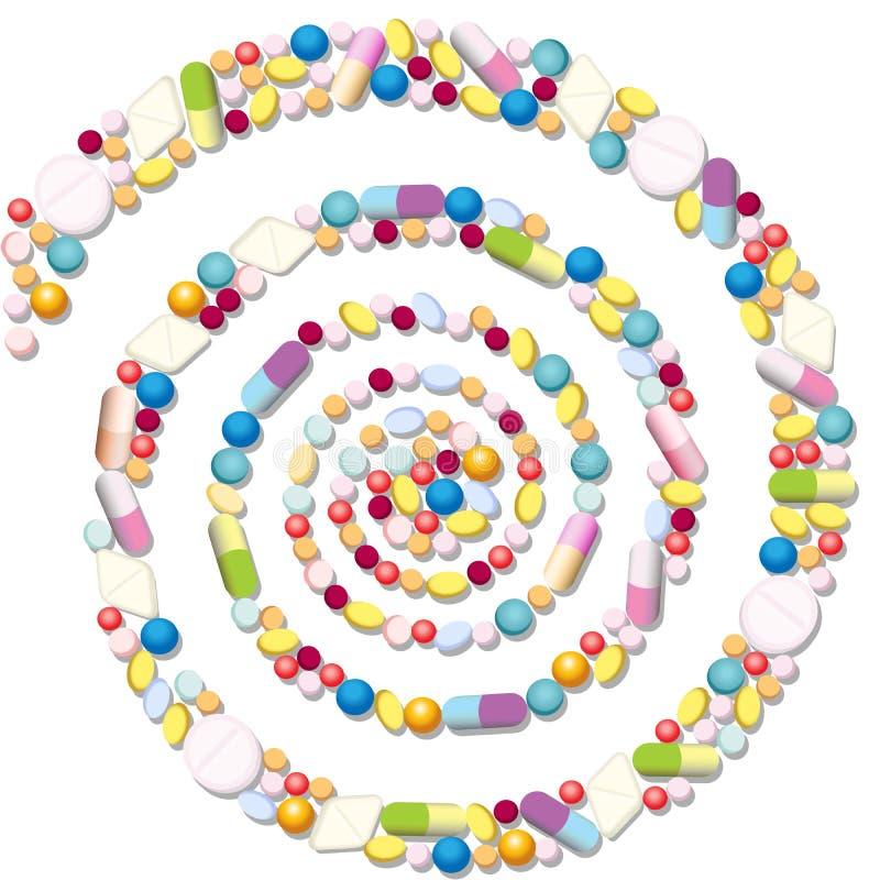 Espiral dos comprimidos ilustração stock