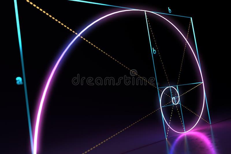 Espiral dourada da relação de Fibonacci no fundo preto 3D rendeu a ilustração ilustração do vetor
