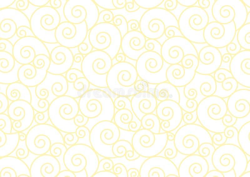 Espiral en colores pastel amarillo en el fondo blanco del vector stock de ilustración
