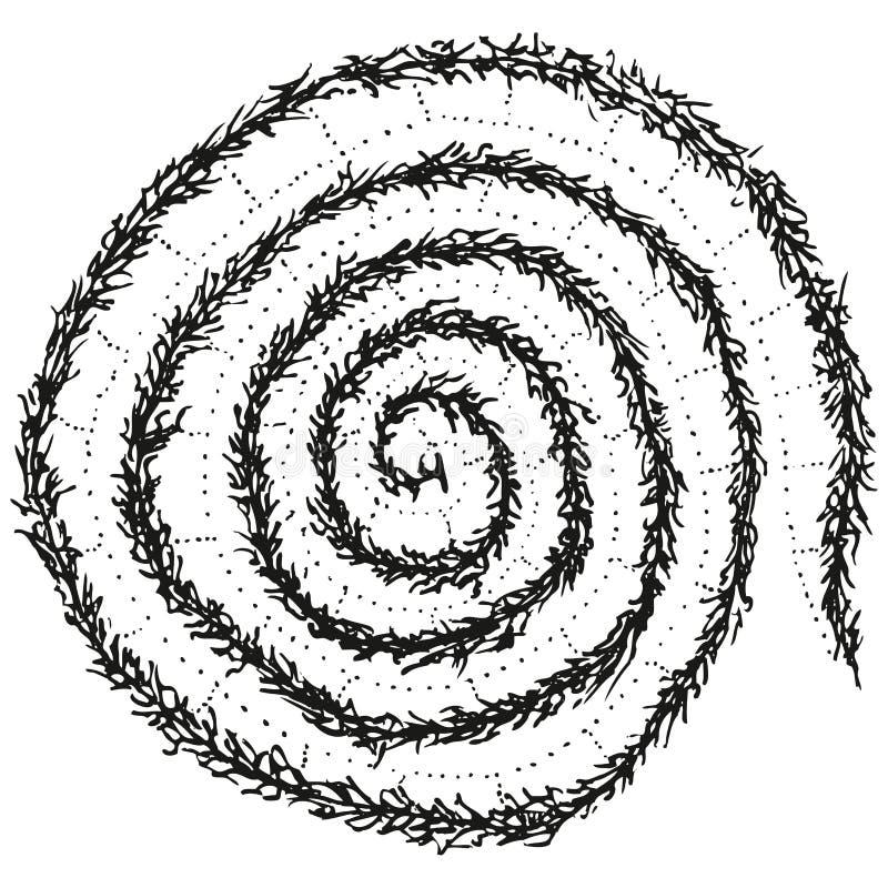 Espiral estilizado abstrata da lagarta de B&W ilustração stock