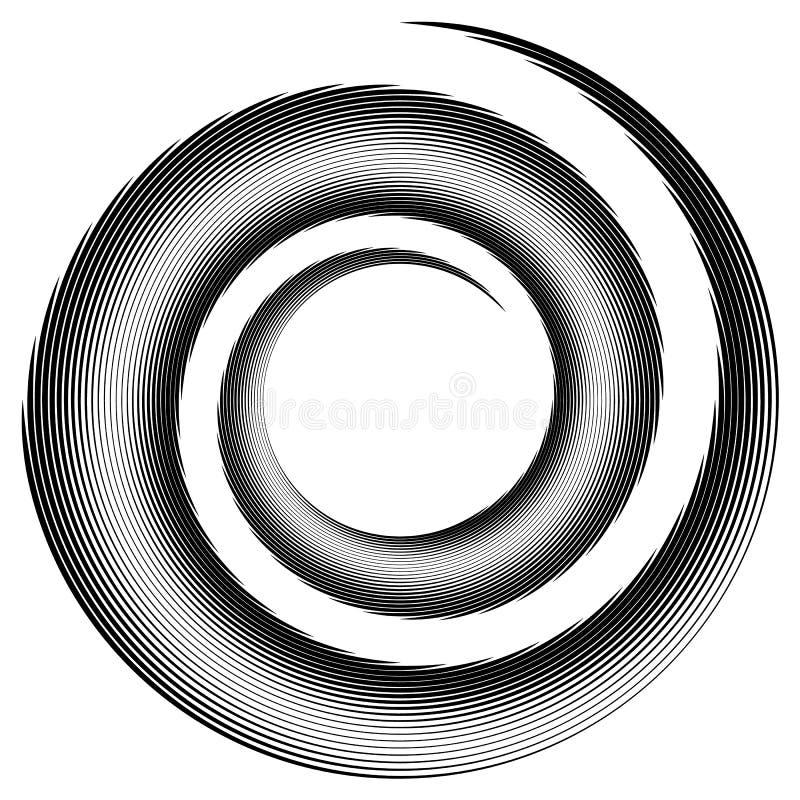 Espiral, forma do redemoinho, elemento Espiral interna isolada no branco ilustração do vetor