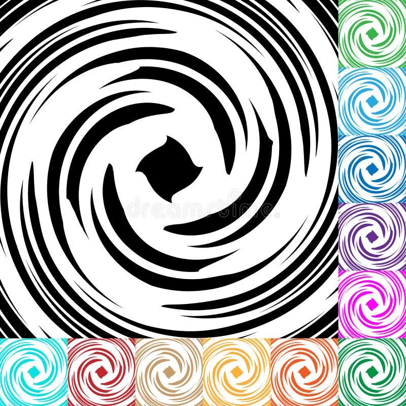 Espiral, fundo do redemoinho em muitas cores Patt de giro circular ilustração stock