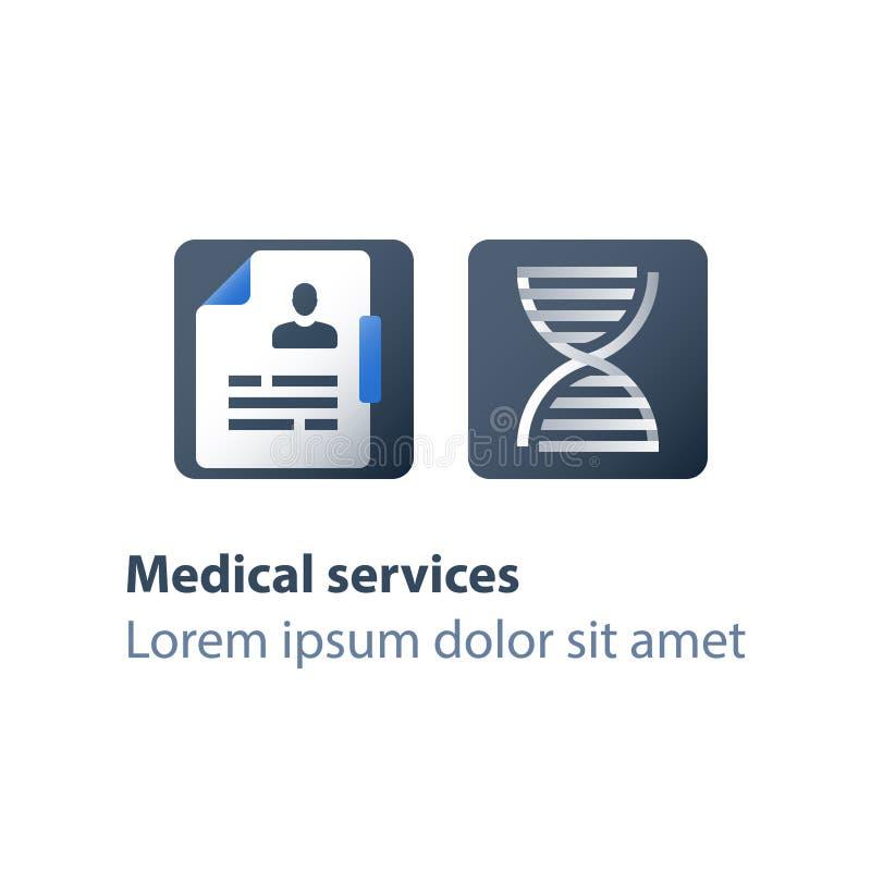 Espiral genética, testes do ADN, exame médico, cuidados médicos, serviços genealógicos da análise, conceito personalizado da medi ilustração stock