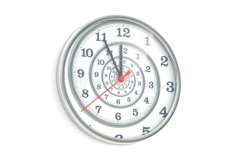 Espiral infinito en el reloj de pared, del tiempo representación 3D stock de ilustración