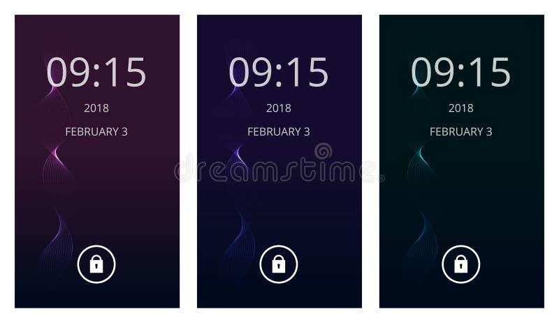 Espiral mágico en pendiente oscura El sistema de la interfaz de usuario moderna, ux, pantalla del ui wallpapers para el teléfono  stock de ilustración