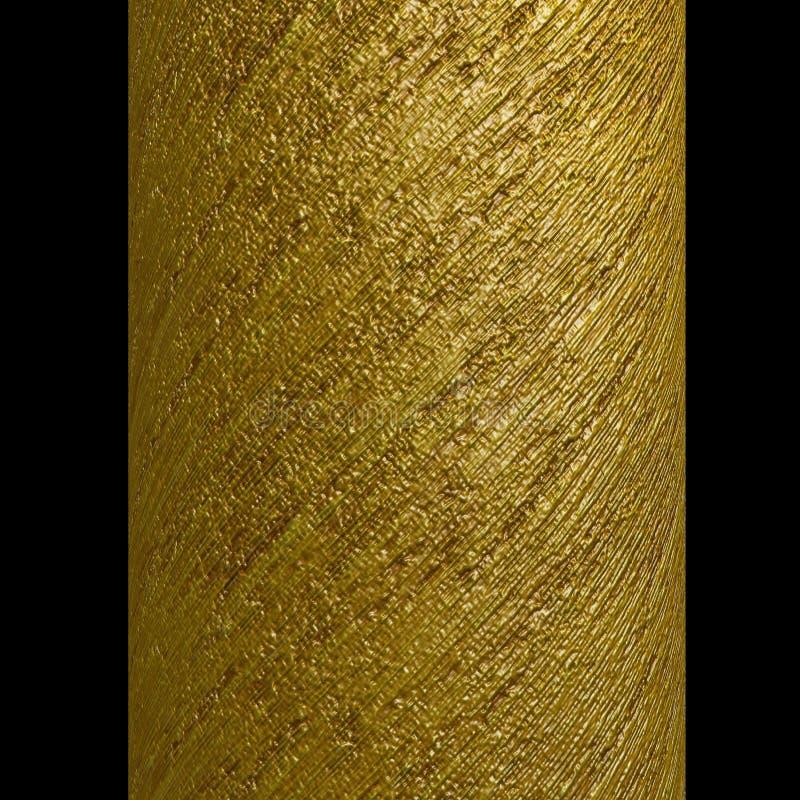 A espiral metálica do ouro da coluna descasca a textura ilustração do vetor