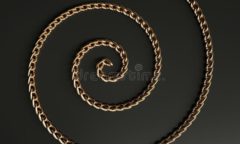 Espiral metálico de oro ilustración del vector