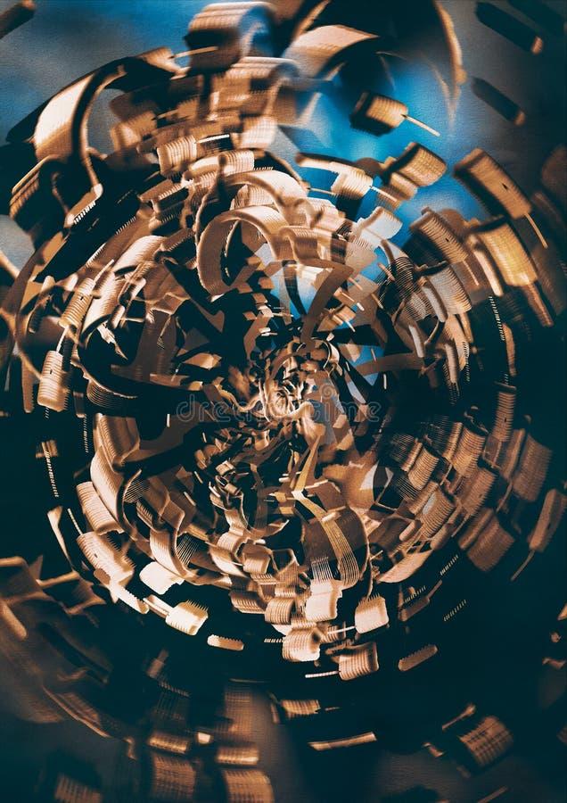 Espiral moderna do metal do ouro ilustração royalty free