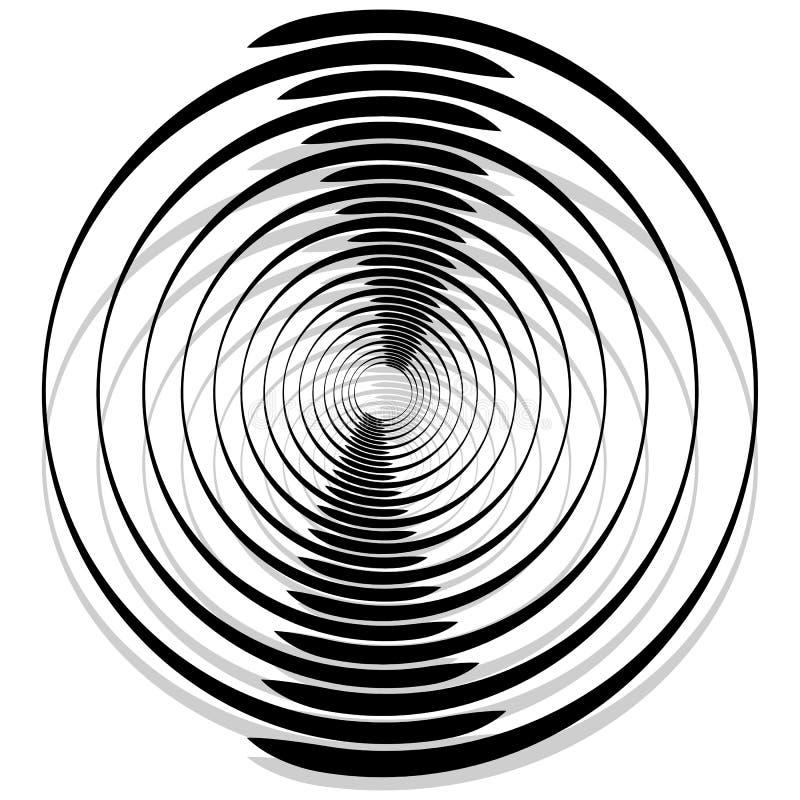 Espiral monocromática abstrata, redemoinho com radial, irradiando o círculo ilustração stock