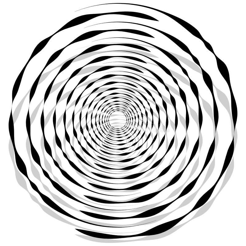 Espiral monocromática abstrata, redemoinho com radial, irradiando o círculo ilustração do vetor