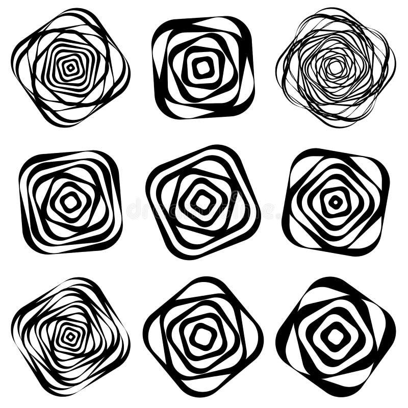 Espiral monocromática, elemento da pirueta Forma de giro geométrica ilustração stock