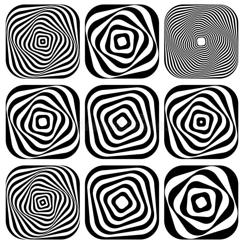 Espiral monocromática, elemento da pirueta Forma de giro geométrica ilustração do vetor