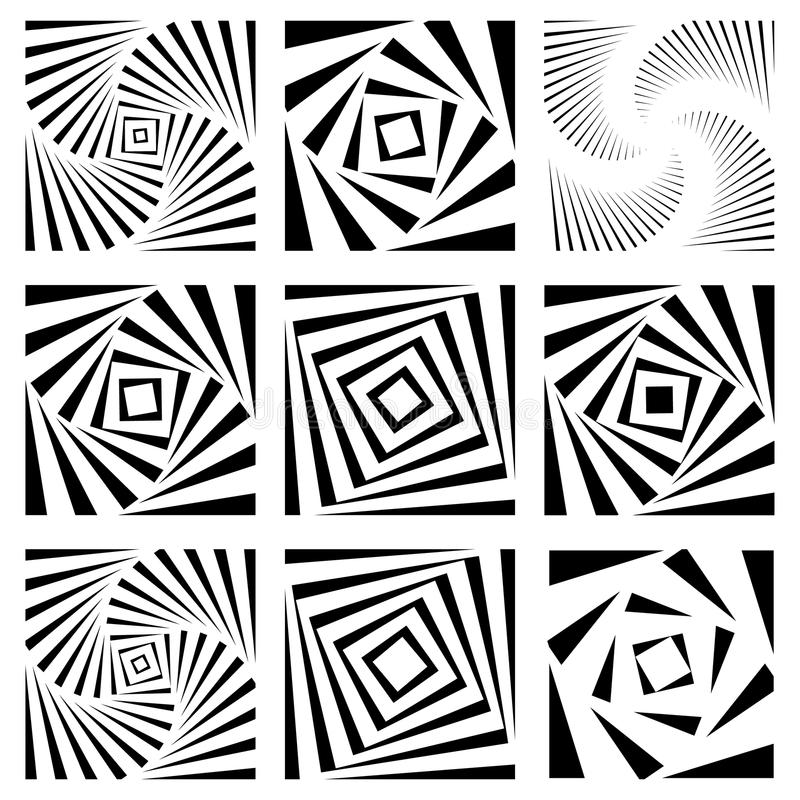 Espiral monocromática, elemento da pirueta Forma de giro geométrica ilustração royalty free
