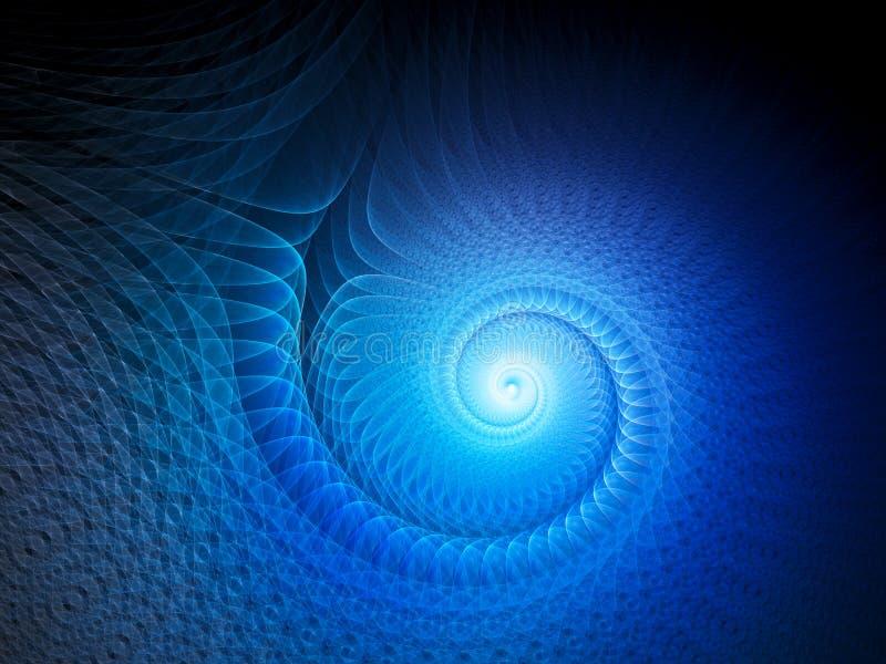 Espiral multidimensional de incandescência do azul ilustração stock