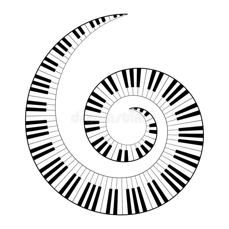 Espiral musical del teclado ilustración del vector