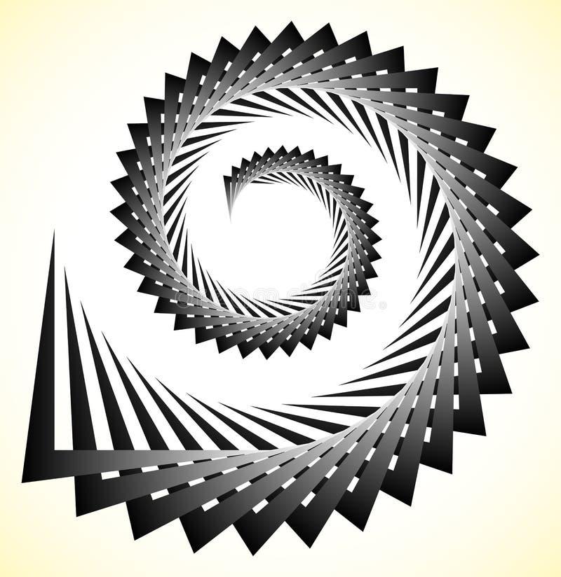 Espiral nervosa abstrata, volute com formas triangulares ilustração stock