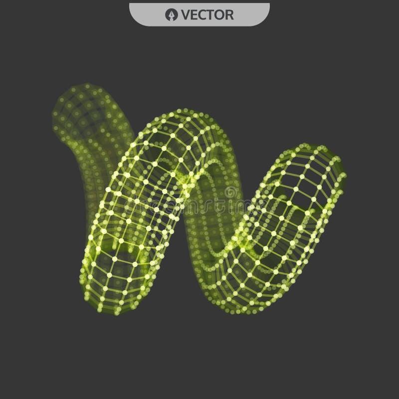 espiral objeto do wireframe do vetor 3d Ilustra??o com linhas e os pontos conectados Projeto abstrato da grade Estrutura da conex ilustração stock