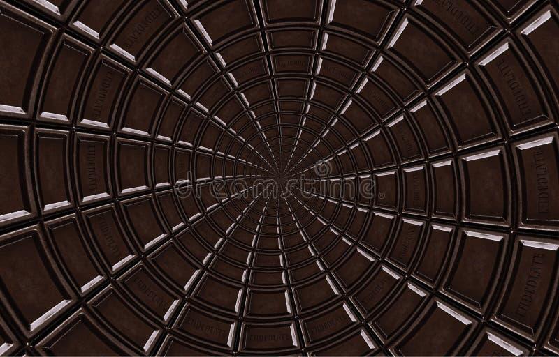 Espiral oscuro abstracto del chocolate hecho de la barra de chocolate Extracto del giro Modelo del fondo del chocolate Espiral os foto de archivo libre de regalías
