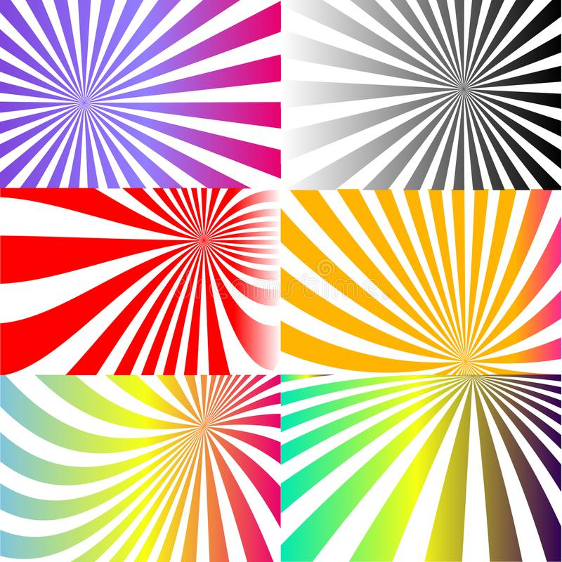 Espiral psicodélico con los rayos radiales, giro, efecto cómico torcido, fondos del vórtice - sistema del vector imagen de archivo