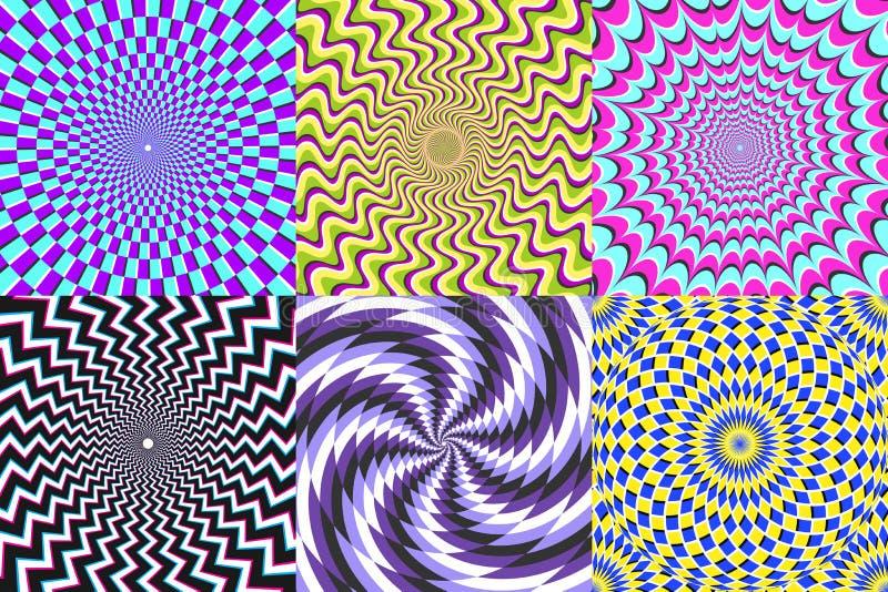 Espiral psicod?lico Ilusión óptica, espirales de la falsa ilusión y sistema espiral del ejemplo del vector de la hipnosis colorid stock de ilustración