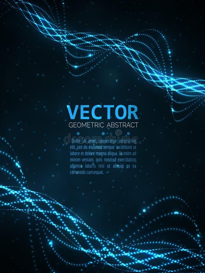 Espiral que brilla intensamente abstracto Luz de las partículas del vector Líneas azules fondo ilustración del vector