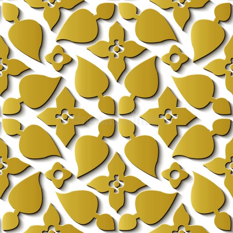 Espiral retro c del oro del modelo del alivio de la decoración inconsútil de la escultura libre illustration
