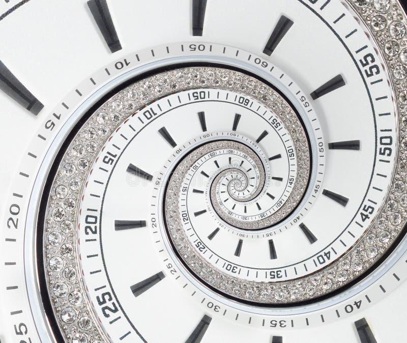 Espiral surreal do fractal branco moderno futurista do sumário do relógio de pulso de disparo Olhe o backgrou abstrato incomum do imagens de stock royalty free