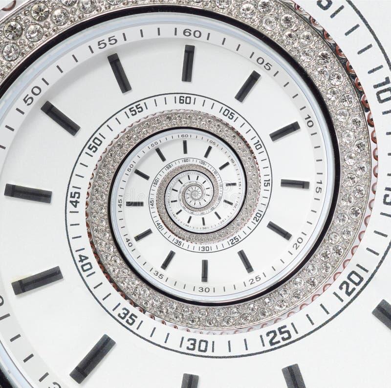 Espiral surreal do fractal branco moderno futurista do sumário do relógio de pulso de disparo Olhe o contexto abstrato incomum do fotos de stock royalty free