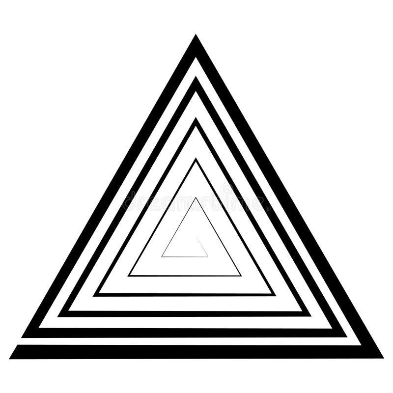 A espiral triangular, um labirinto, vector a ilusão ótica, ilusão da profundidade, molde, logotipo, tatuagem do triângulo ilustração do vetor