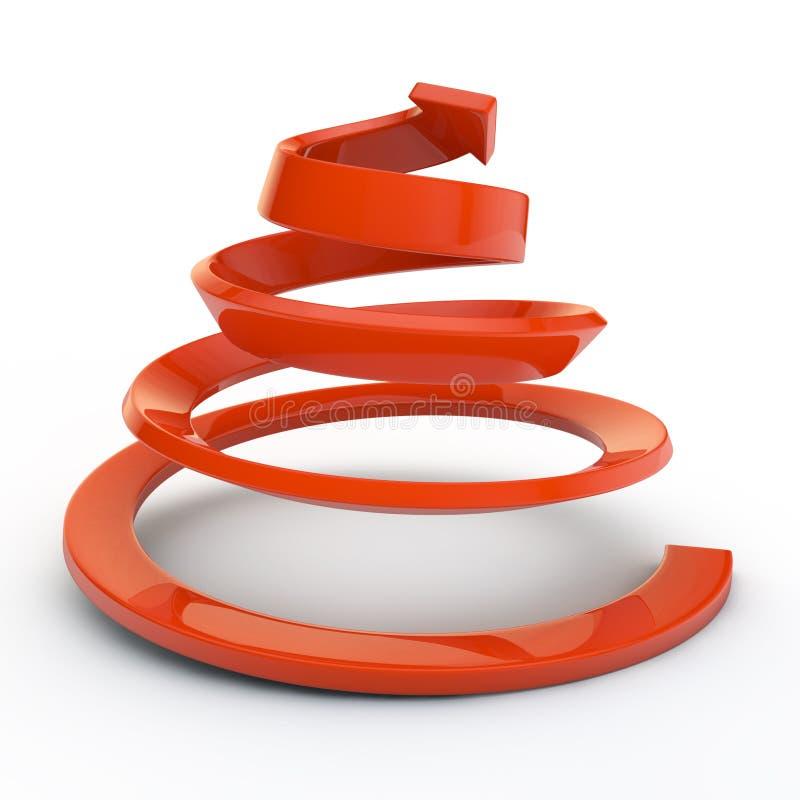 Espiral vermelha e seta ilustração stock