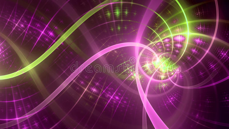 Espirale no direito com um teste padrão entrelaçado intrincado e um borrão claro, tudo no rosa de brilho, verde ilustração do vetor