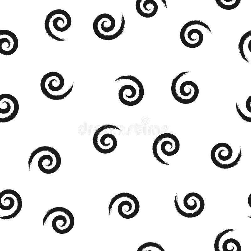 Espirales aleatoriamente dispersados Grunge bosquejado por el cepillo áspero Modelo inconsútil libre illustration