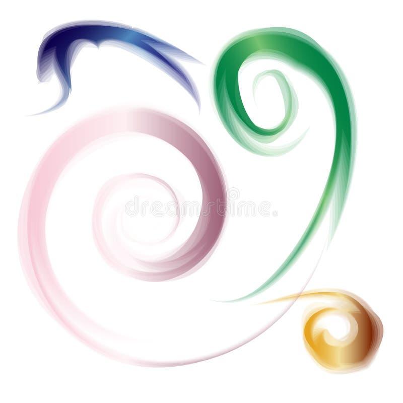 Espirales coloridos ahumados Elementos abstractos del fondo Conveniente para la materia textil, la tela, empaquetar y el diseño w stock de ilustración
