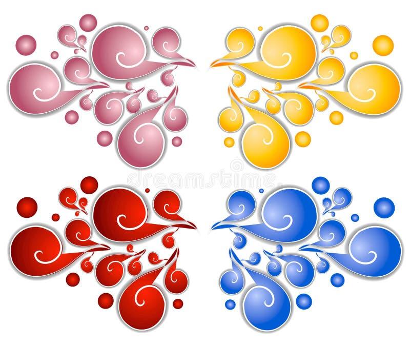 Espirales decorativos 2 de los remolinos stock de ilustración