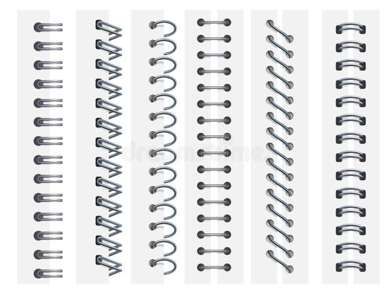 Espirales del cuaderno Las páginas de los cuadernos del atascamiento de anillos, tuercen en espiral las hojas de sujeción y vecto libre illustration