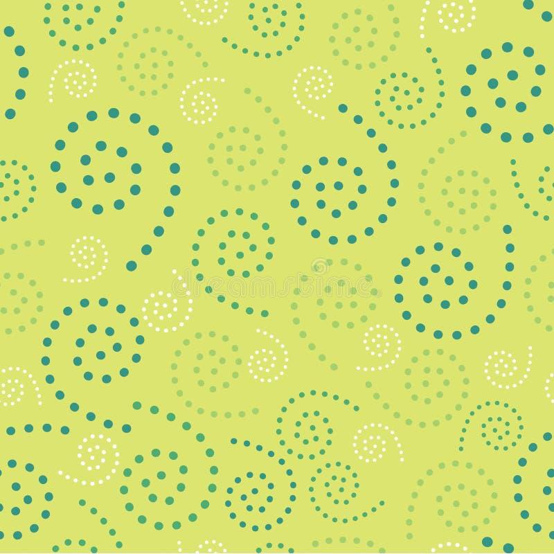 Espirales inconsútiles Dots Green Background Abstract Pattern 1 stock de ilustración