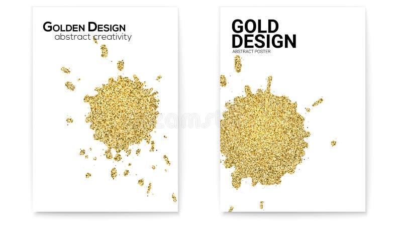 Espirra com o efeito de brilho, grupo dourado da poeira de tampas com texturas tiradas mão Formas abstratas do ouro, arte do veto ilustração stock