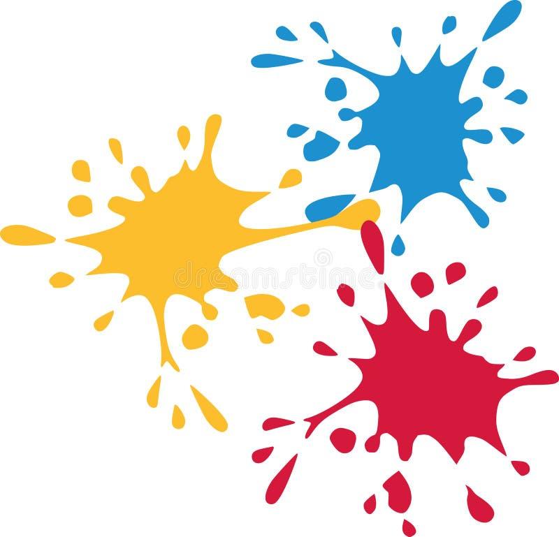 Espirra da cor - vermelho azul amarelo ilustração do vetor