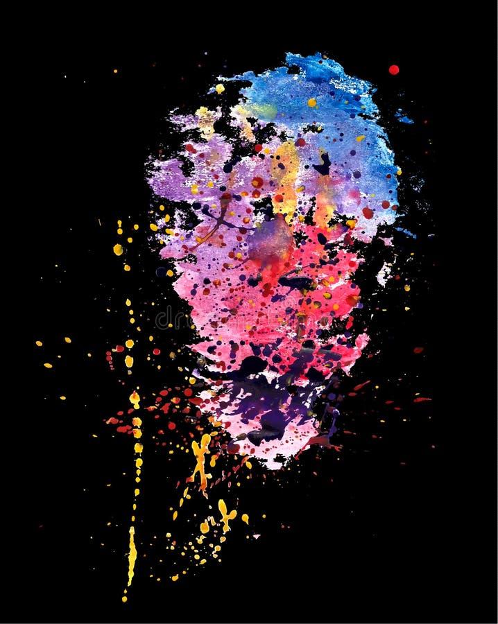 Espirra da pintura da aquarela no fundo preto Ver do vetor ilustração do vetor