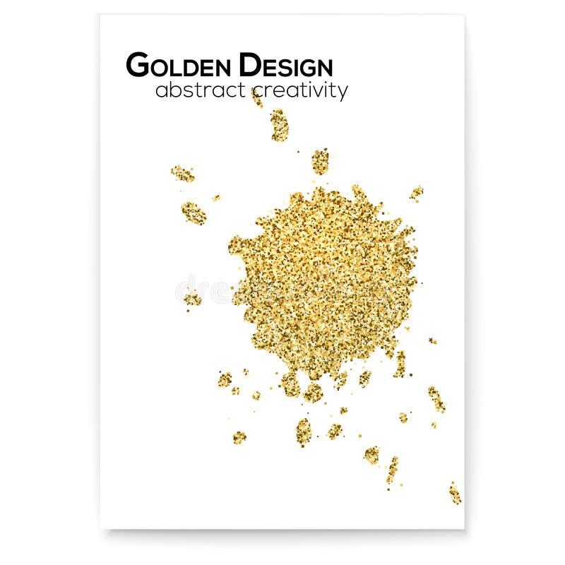 Espirra da tinta Efeito de brilho, tampa protetora contra poeira dourada com texturas tiradas mão Formas abstratas do ouro, arte  ilustração do vetor