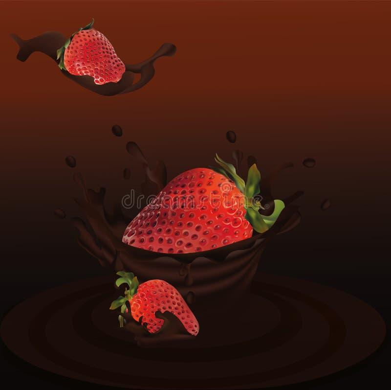 Espirre a morango no vetor 3d real?stico do chocolate Fruto cru da morango A morango do todo e da fatia com espirra ilustração royalty free