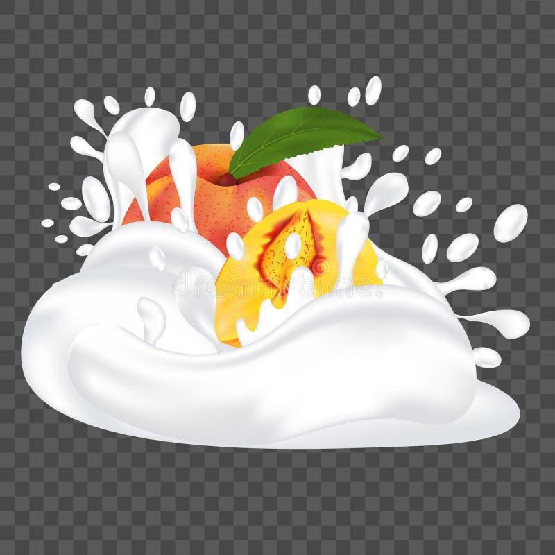 Espirre o leite ou o iogurte e pêssego fresco Ilustra??o real?stica do vetor do fruto 3d ilustração royalty free