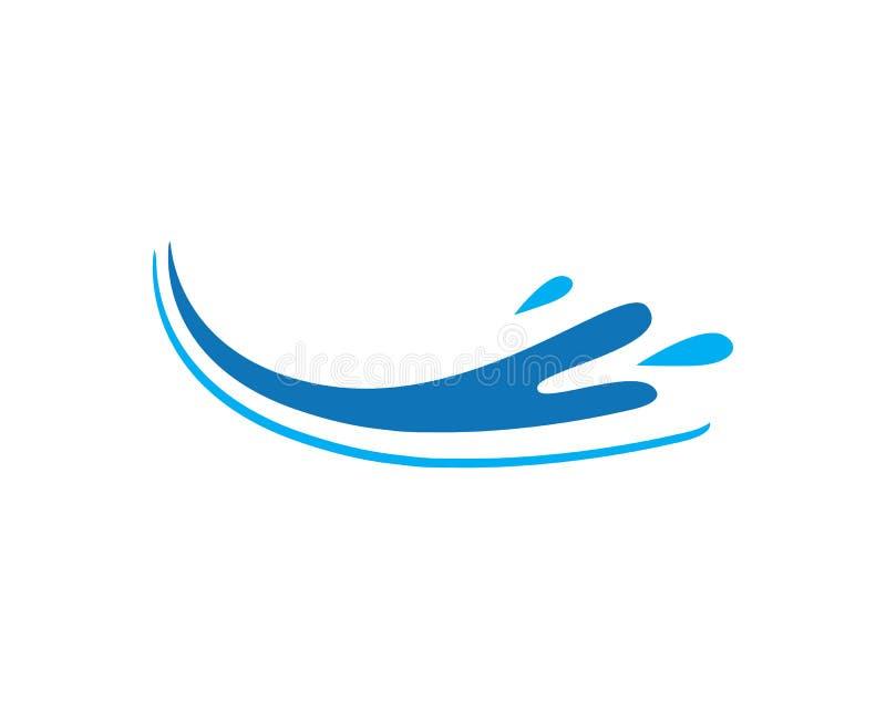 espirre o símbolo da água, da onda e o vetor de Logo Template do ícone ilustração stock