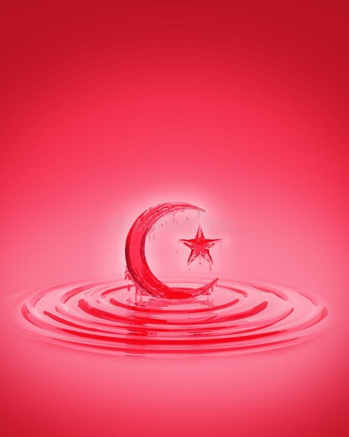 Espirre a ondinha do xarope vermelho líquido do suco da morango no formulário da lua e da estrela crescentes ilustração do vetor